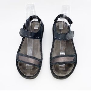 NAOT Black Leather Velcro Stitched Heeled Sandals